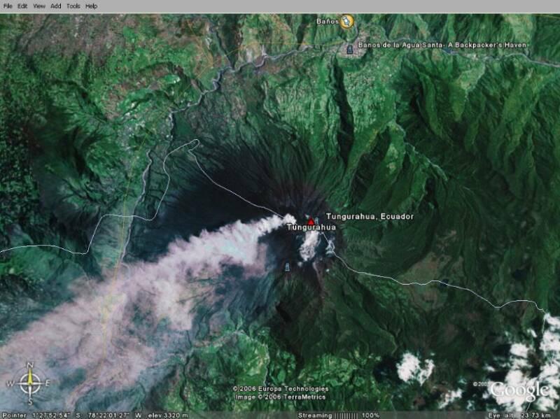 Imagenes De Baños Ambato:Imagenes del volcán activos Tungurahua Baños con Google Earth