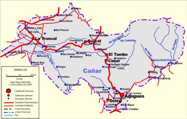 Cañar Mapas Provincias Map Of Provinces Ecuator Landkarten - Ecuador provinces map